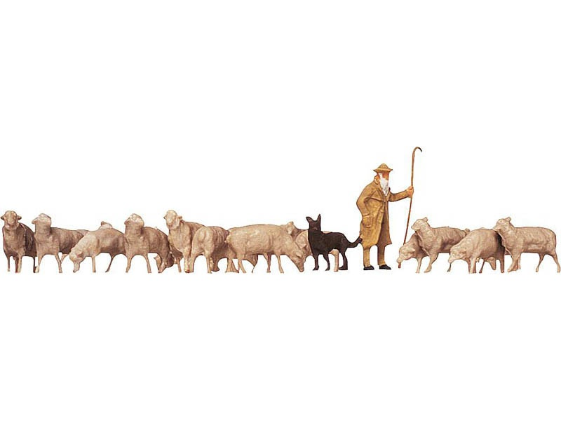 Schäfer, Hunde, Schafe Figuren H0