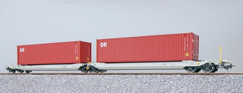 Taschenwagen Sdggmrs + Container CAIU, NL-AAEC, DC, Spur H0