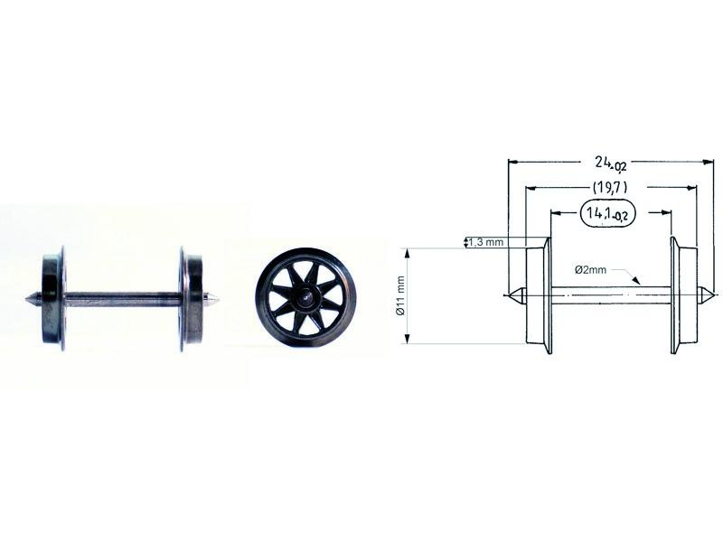 Doppelspeichen-Tauschradsatz 24 mm H0