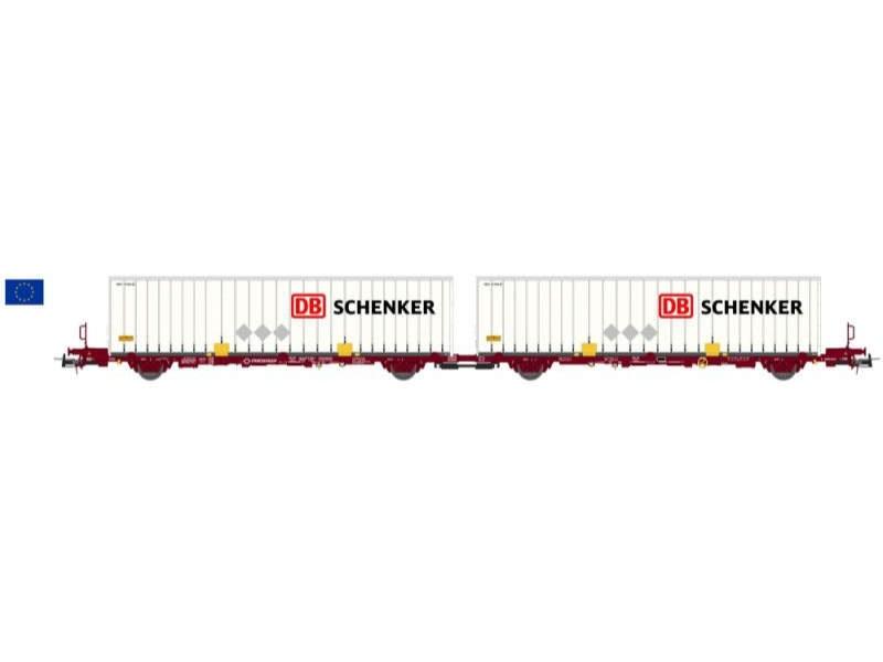 Containerwagen Laagrss Transfesa braun DB Schenker, Spur H0