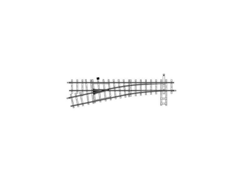Weiche links, 12°, 162,3 mm, R 515 mm, Spur H0m