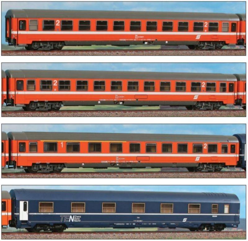 4t.g Set Personenwagen Adria Express, Ep. IV, DC, Spur H0