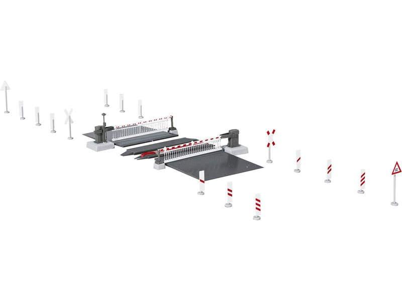 Bahnschranke mit Behang, vollautomatisch, Spur H0