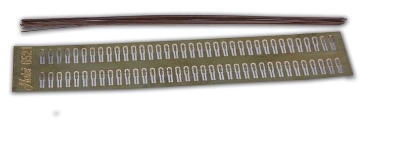 Metallgeländer, 60 Pfosten, 20 Kupferdrähte á 20 cm, Spur H0