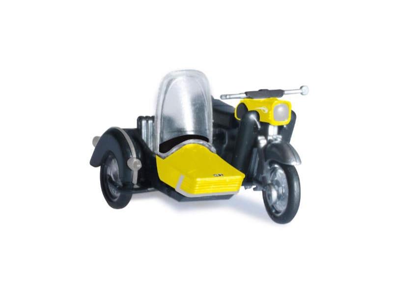 MZ 250 mit Beiwagen, gelb/schwarz, 1:87 / H0