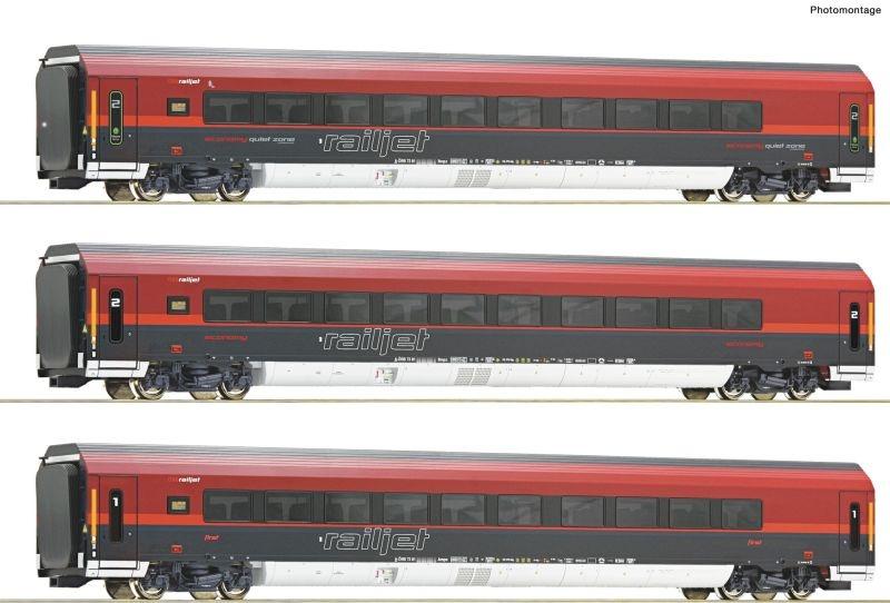 3-teiliges Wagenset Railjet der ÖBB, Beleuchtung, AC Spur H0