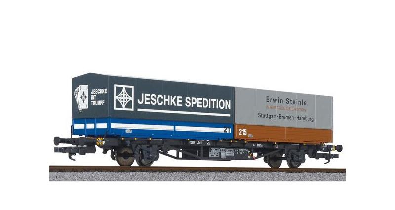 Containertragwagen Lss-y 571 mit 2 Wechselbehältern, DC, H0