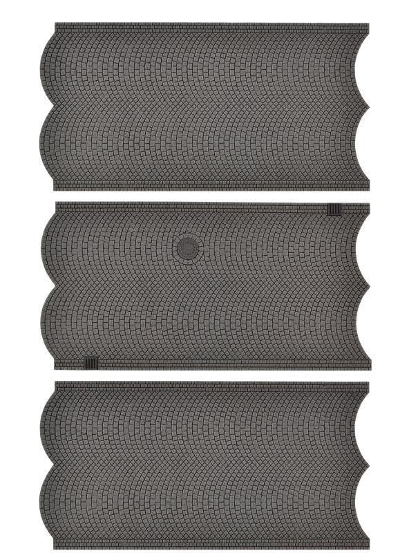 Straßenplatte Kopfsteinpflaster, 3 Stück, L15xB8cm , Spur H0