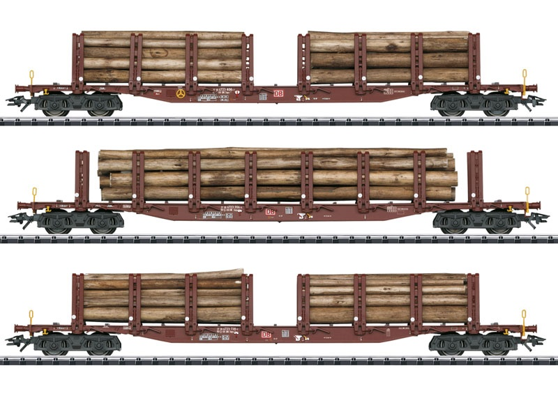 Rungenwagen-Set Holztransport der DB AG, DC, Spur H0