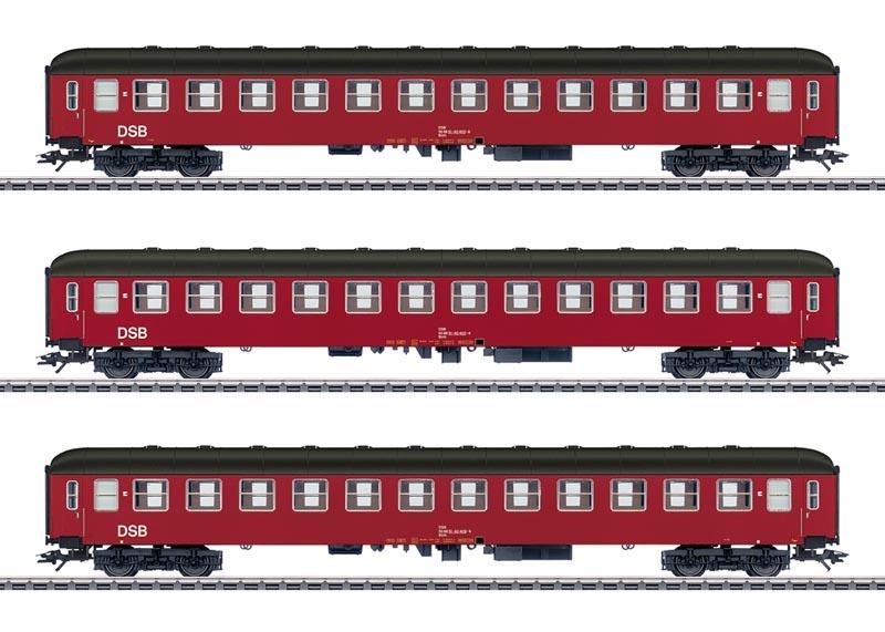 Reisezugwagen-Set, 3 Wagen der DSB, AC, Spur H0