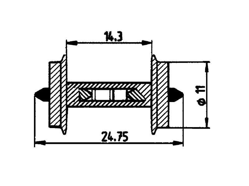 Widerstands-Radsatz 11mm H0
