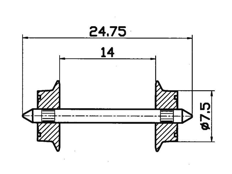Radsatz AC 7,5mm H0