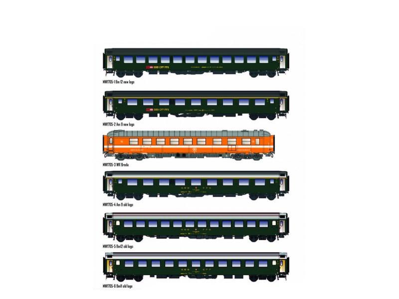 6 tlg. Personenwagenset Brüssel-Chur, SBB, DC, Spur H0