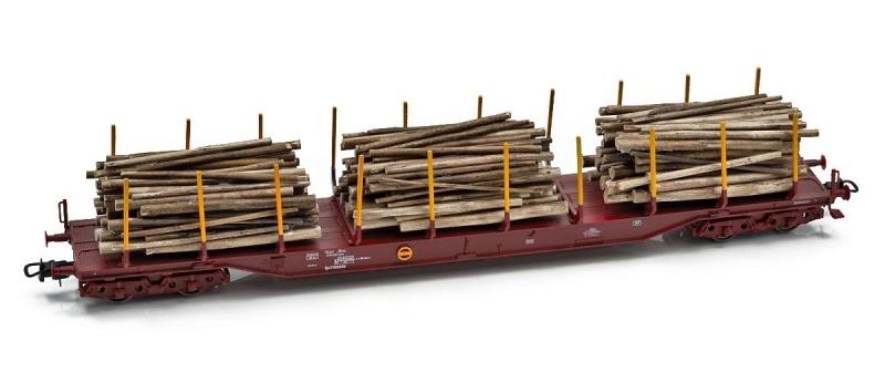 Topline TÅGAB Holztransportwagen Rps, mit Holzladung, H0