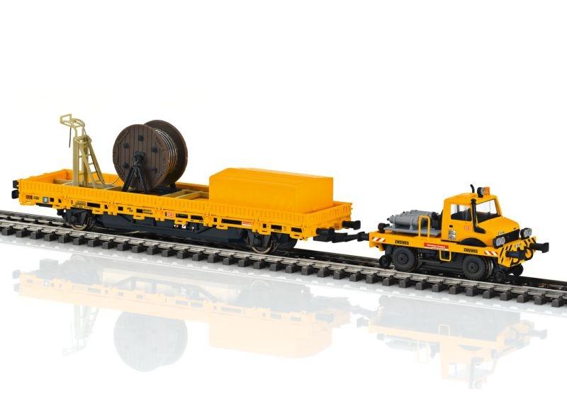 Zweiwege-Unimog mit Fahrleitungsbauwagen, mfx+, DCC, Spur H0
