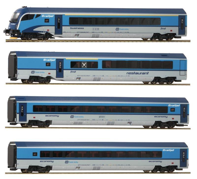 Wagenset Railjet der CD, 4-teilig, AC, Epoche VI, Spur H0
