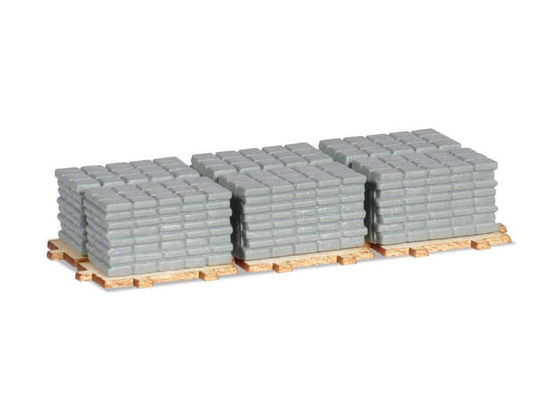 Ladegut Gehwegplatten auf Paletten (2 Stück), 1:87 / H0