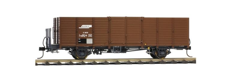 RhB E 6635 Holzwand-Hochbordwagen dunkelbraun, Spur 0m