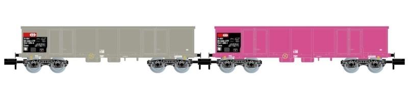 2-tlg. Set offene Güterwagen Eaos, SBB, Ep. V, Spur N
