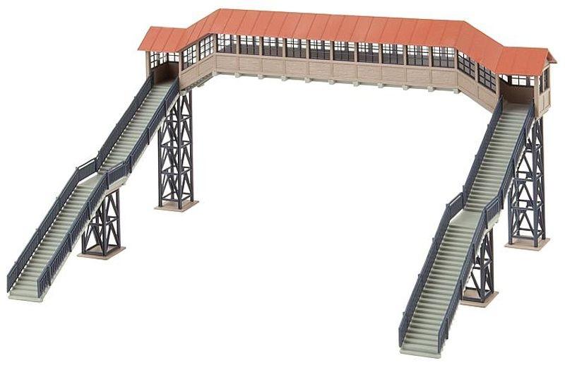 Fußgängerbrücke mit Überdachung, Bausatz, Spur H0