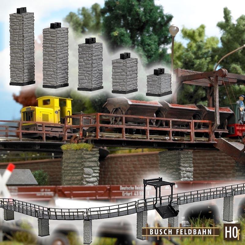 Brückenpfeiler Auf-/Abfahrt (5 Stück), Spur H0f Feldbahn