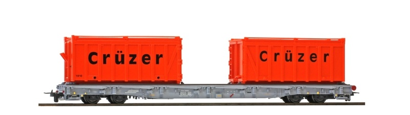 Tragwagen mit Mulden Crüzer R-w 8208 der RhB, DC, Spur H0m