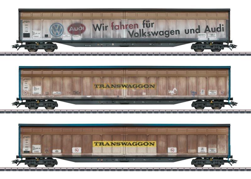 Schiebewandwagen-Set Transwaggon der DB, Spur H0