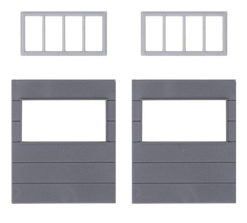 2 Wandelemente mit horizontalen Fenstern, Goldbeck, Spur H0