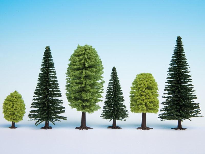 Mischwald, 10 Bäume, 5 - 14 cm hoch Spur H0, TT