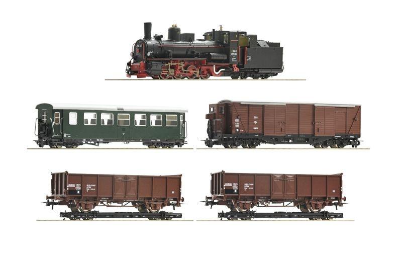 5-tlg. Zugset: Dampflokomotive 399.06 mit GmP, ÖBB, Spur H0e