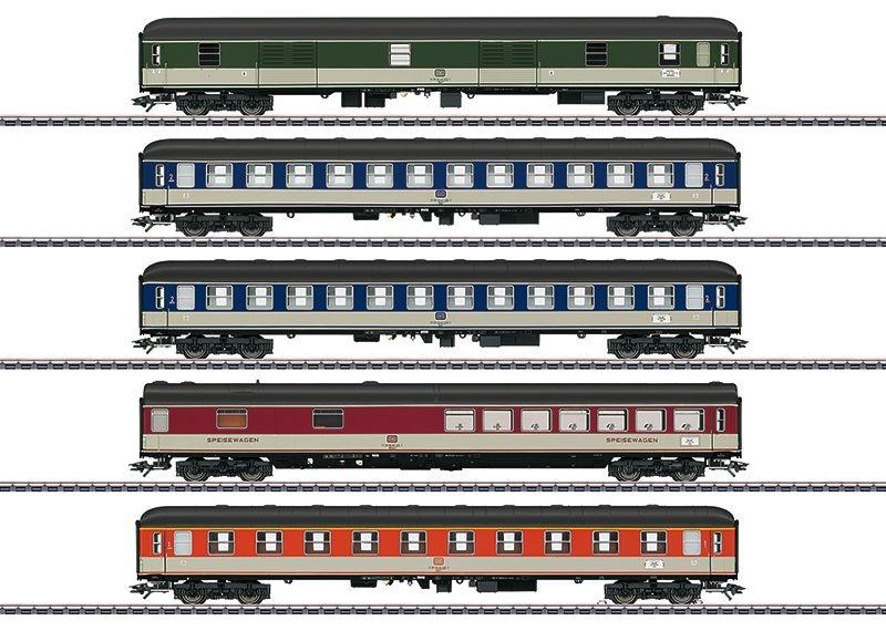 Schnellzugwagen-Set Pop-Farben der DB,5-tlg,Ep. IV,Spur H0