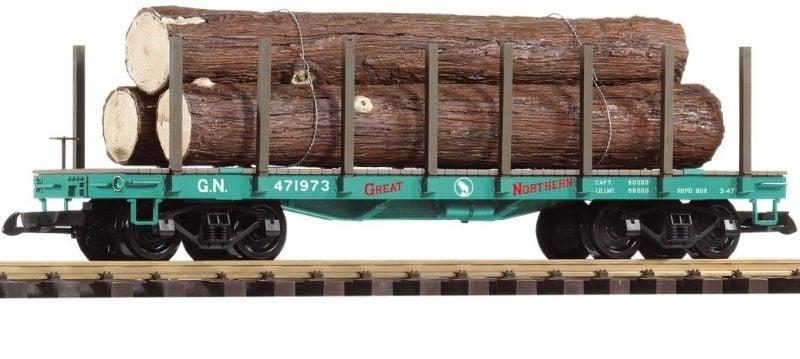 Rungenwagen mit Holzladung der Great Northern, Spur G