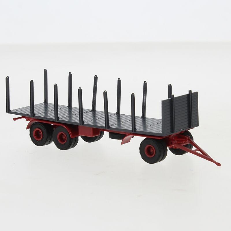 Anhänger 3-achs. Rungen, dunkelgrau/-rot, 1955, 1:87 / H0