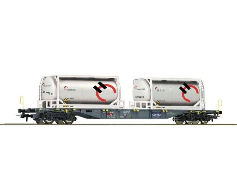 Containertragwagen der SBB + Holcim Tankcontainer, DC, H0