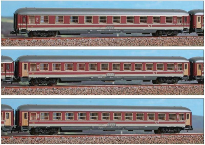 Italienisches Reisezugwagen Set Typ X der FS, DC, Spur N