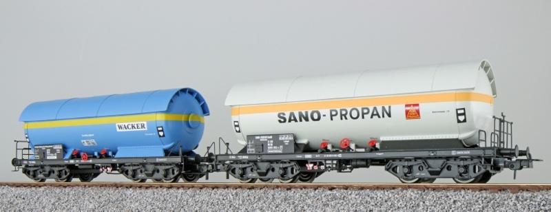 Gas-Kesselwagen Set ZAG 620, Wacker+SanoProp., DB, blau, H0