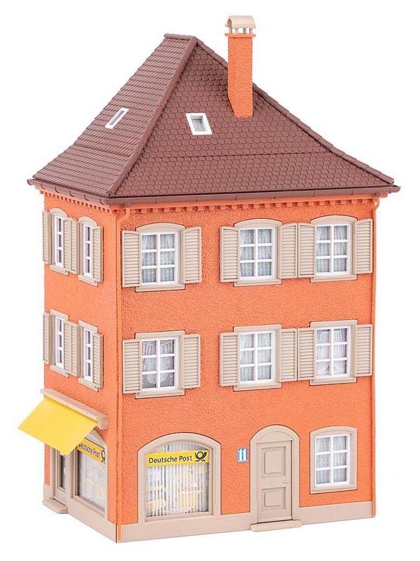 Eckhaus mit Post, Bausatz, Spur H0