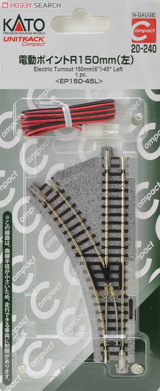 Elektrische Weiche Radius 150mm-45° links, Spur N