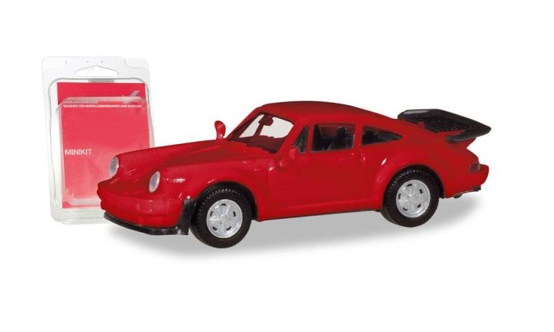 Minikit Porsche 911 Turbo, feuerrot, 1:87 / Spur H0