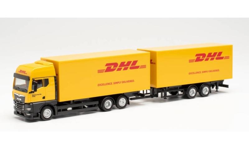 MAN TGX GX Wechselkoffer-Hängerzug DHL, 1:87 / Spur H0