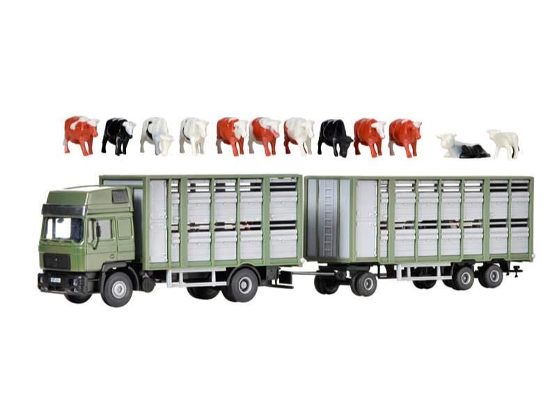Viehtransporter mit Anhänger und 12 Kühen, Bausatz, Spur H0