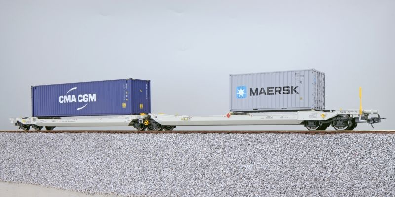 Taschenwagen Sdggmrs NL-RN + Container CMAU/MRKU, DC, H0