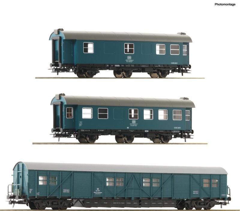 3er Set Bauzugwagen der DB, DC, Spur H0