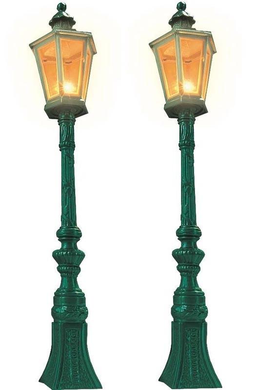 2 Oldtimer-Straßenlampen, grün, Spur 1/G