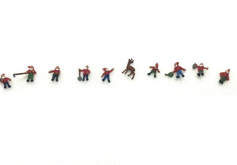 Figuren-Set Gartenzwerge, 9 Zwerge  / 1 Reh 1:87 / H0