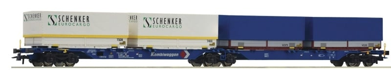Container-Doppeltragwagen, Kombiwaggon, DC, Spur H0