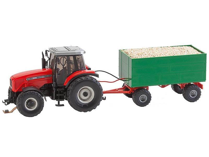 MF Traktor mit Hackschnitzelanhänger Car System (WIKING) H0