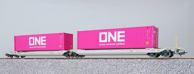 Taschenwagen Sdggmrs + Container ONEU, NL-AAEC, DC, Spur H0