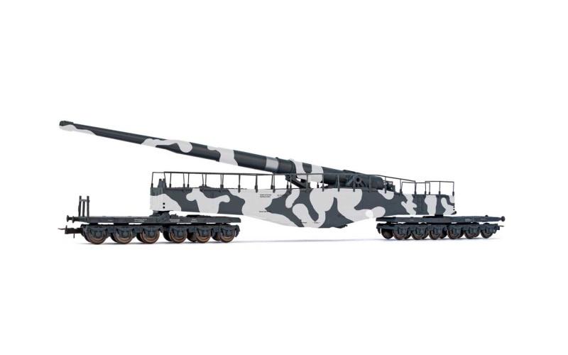 Eisenbahngeshütz K5, Tarnlackierung, DRB, DC, Spur H0