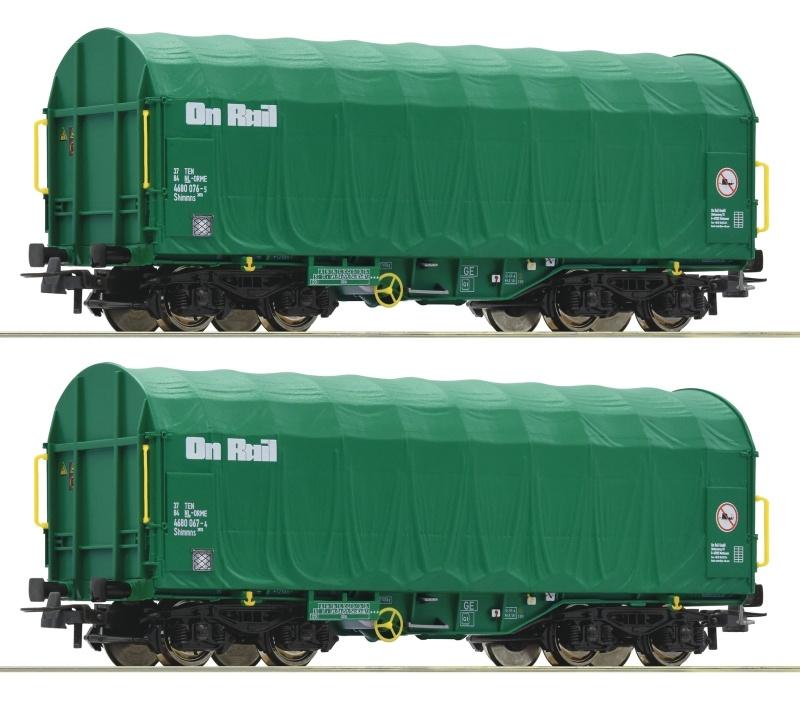 2-tlg. Set: Schiebeplanenwagen, On Rail, DC, Spur H0